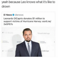 Don't follow @sigh if you're easily offended: yeah because Leo knows what it's like to  drown  E! News @enews  Leonardo DiCaprio donates $1 million to  support victims of Hurricane Harvey: eonli.ne/  2eGF67o  Avantledelug  NATIONAL  EOGRAP  AVANT  NATIONAL  EDGRAPHI  tleDeluge Don't follow @sigh if you're easily offended