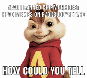 mods are alvinists: YEAH I BANNED CHIPMUNK BEST  HEAD MEMES ON R/OKBUDDYRETARD  HOW COULD YOU TELL mods are alvinists