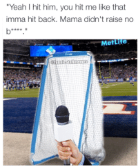"""Instagram, New York, and New York Giants: """"Yeah I hit him, you hit me like that  imma hit back. Mama didn't raise no  MetLife New York Giants kicking net had something to say about Odell Beckham Jr after the game:  Via: (https://www.instagram.com/funniestnflmemes/)"""