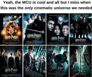 Yeah, Cool, and Wicked: Yeah, the MCU is cool and all but I miss when  this was the only cinematic universe we needed  UT TO CHANCE  EVE NeTA  Someihing Wicked This Way Comes  tr TH  MACIC BEGIN  aPotter  THE REBELLION BEGINS  Haty Polier  DAKE SECRETS REVEALD  Hat Poter  SAE  IT ALL ENDS7.1s  JULY 15  s  TO TH CINAL  071307 Ah... those were the days.