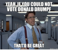 Drumpf: YEAHRIFKOU COULD NOT  VOTE DONALD DRUMPF  THATD BE GREAT  MEMEFUL.COM