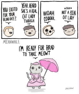 Date, Cat, and You: YEAIH. HEARD  YOU EXCTED SHE'S AREALwOAH NOT A REN  FOR YOUR  BLIND DATE  *SIGH  CAT LADY  THOUCH COO00L CTLDP  MEANWHILE  IM READY FOR BRAD  TO TAKE MEOWT  COREYDRAWY Feline fine [OC]
