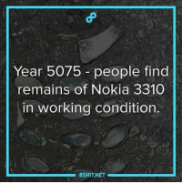 What a year to be alive! 8shit 8fact fact facts didyouknow dyk normie meme dankmemes dankmeme dankness nokia3310 5075: Year 5075 people find  remains of Nokia 3310  in working condition.  8SHIT NET What a year to be alive! 8shit 8fact fact facts didyouknow dyk normie meme dankmemes dankmeme dankness nokia3310 5075