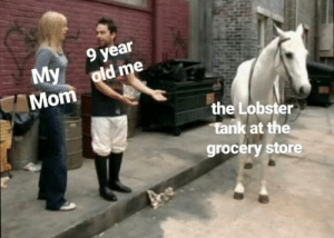 Friends, Memes, and Live: year  My old me  Mom  the Lobster  tank at the  grocery store I took my friends to this grocery store with a ton of live crabs and it made me very upset