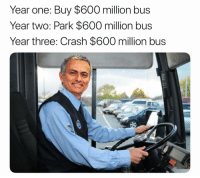 The José Mourinho story: Year one: Buy $600 million bus  Year two: Park $600 million bus  Year three: Crash $600 million bus The José Mourinho story
