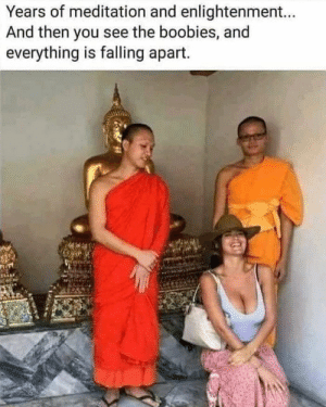 Monk see, monk do?: Years of meditation and enlightenment...  And then you see the boobies, and  everything is falling apart. Monk see, monk do?
