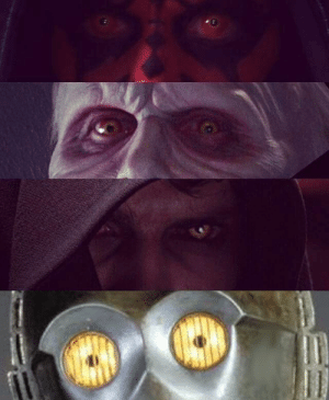 Sith, Lord, and For: Yellow eyes are a dead giveaway for a Sith Lord.