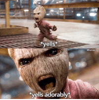 Memes, Heroes, and Adorable: yells%  yells adorably  @heroes ig CAN WE JUST TALK ABOUT GROOT 😭 p.s. I'll post more scenes for GOTG Vol. 2 tomorrow 😅