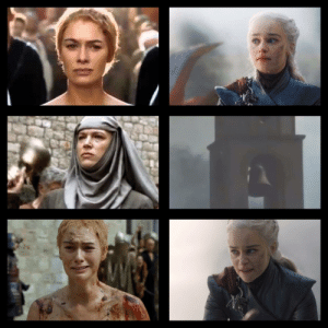 Love, Queen, and World: Yes, Dany became the Mad Queen, and that's ok. But which of these two queens had a reason to go insane when bells started ringing? Which queen had all the reason in the world to freak out with PTSD when she heard the sound of bells? For the love of the old gods and the new- WHY BELLS???