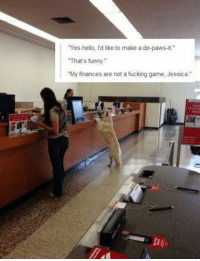 "Club, Fucking, and Funny: Yes hello, I'd like to make a de-paws-it.""  That's funny.  ""My finances are not a fucking game, Jessica."" <p><a href=""http://laughoutloud-club.tumblr.com/post/161691156397/goddammit-jessica"" class=""tumblr_blog"">laughoutloud-club</a>:</p>  <blockquote><p>Goddammit Jessica</p></blockquote>"
