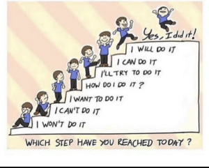 [image] Know where you stand and go higher slow and steadily: Yes, I dud it!  | WILL DO IT  I CAN DO IT  I'LLTRY TO DO IT  HOW DO I DO IT ?  | WANT TO DO IT  ICAN'T DO IT  I WON'T DO IT  WHICH STEP HAVE YOU REACHED TO DAY ? [image] Know where you stand and go higher slow and steadily