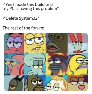 """Hilarious!: -""""Yes I made this build and  my PC is having this problem""""  -""""Delete System32""""  The rest of the forum: Hilarious!"""