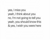 i miss you: yes, I miss you  yeah, I think about you  no, I'm not going to tell you  yeah, you should know this  & yes, I wish you were here