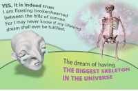 "Life, Reddit, and True: YES, it is indeed true  enhearted  between the hlsearted  For I may never know  en the hills of sorrovw  life  shall ever be fulfilled. elong  The dream of having  THE BIGGEST  IN THE UNIVERSE  SKELETON <p>[<a href=""https://www.reddit.com/r/surrealmemes/comments/7emxsn/i_have_a_dreamerino/"">Src</a>]</p>"