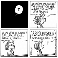 Memes, 🤖, and Awake: YES MAAM, IM AWAKE!  THE MOVIE OH, YES,  MAAM THE MOVIE  WAS GREAT!  WHAT WAS IT ABOUT  I DON'T SUPPOSE IT  WAS ABOUT DONNY  WELL UH... IT WAS...  WELL, I THINK  AND MARIE, WAS IT?  3-6 This strip was published on March 6, 1978. 💤