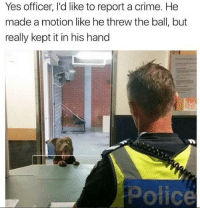 Crime, Memes, and Police: Yes officer, I'd like to report a crime. He  made a motion like he threw the ball, but  really kept it in his hand  Police Y'all gettin' locked up 😳😂 https://t.co/tzbo4QEtBS