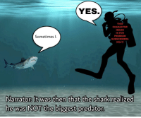 """Reddit, Shark, and Image: YES  THIS  CHARACTER  IMAGE  ISFOR  PREMIUM  SUBSCRIBERS  ONLY  Sometimes I.  Narrator It was then that the shark realized  he was NOT the biggest predator <p>[<a href=""""https://www.reddit.com/r/surrealmemes/comments/8ii4sh/demo_version_only_please_become_a_thrall_to/?utm_source=ifttt"""">Src</a>]</p>"""