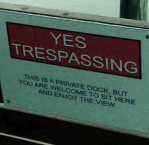 Memes, The View, and 🤖: YES  TRESPASSING  THIS IS A PRINATE DOCK, BUT  YOU ARE WELCOMETO SIT HERE  AND ENJOY THE VIEW https://t.co/7AZvLfIuB0