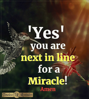 <3: Yes  you are  next in line  for a  Miracle!  Amen  imeless  Reminders <3
