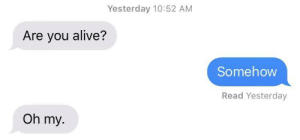Alive, Dank, and Memes: Yesterday 10:52 AM  Are you alive?  Somehovw  Read Yesterday  Oh my. meirl by true_owl MORE MEMES