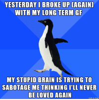 Advice, Brain, and Imgur: YESTERDAY I BROKE UP CAGAIN)  WITH MY LONG TERM GF  MY STUPID BRAIN TS TRYING TO  SABOTAGE METHINKING I'LL NEVER  BE LOVED AGAIN  made on imgur Any advice is welcomed