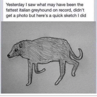"""Saw, Http, and Record: Yesterday I saw what may have been the  fattest italian greyhound on record, didn't  get a photo but here's a quick sketch I did <p>&lsquo;Didn&rsquo;t get a photo but here&rsquo;s a quick sketch I did&rsquo; format, to my knowledge, a new market entrant, has a promising potential 10/10 would invest via /r/MemeEconomy <a href=""""http://ift.tt/2r0ckWS"""">http://ift.tt/2r0ckWS</a></p>"""