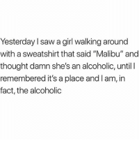 "Memes, Saw, and Girl: Yesterday l saw a girl walking around  with a sweatshirt that said ""Malibu"" and  thought damn she's an alcoholic, until I  remembered it's a place and l am, in  fact, the alcoholic 😬🍹 Follow the fab @1foxybitch @1foxybitch @1foxybitch"