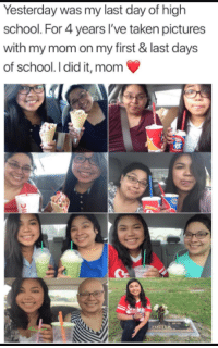 Facebook, School, and Taken: Yesterday was my last day of high  school. For 4 years l've taken pictures  with my mom on my first & last days  of school. I did it, mom <p>Wholesome facebook</p>