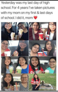 School, Taken, and Pictures: Yesterday was my last day of high  school. For 4 years l've taken pictures  with my mom on my first & last days  of school. I did it, mom <p>Well I was not expecting that gut punch to the feels this early in the morning.</p>