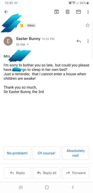 Children, Easter, and Go to Sleep: yG  66%  10:45 650  Inbox  Easter Bunny 10:32 PM  E  to me  Mrs,  I'm sorry to bother you so late, but could you please  have  Just a reminder, that I cannot enter a house when  go to sleep in her own bed?  children are awake!  Thank you so much,  Sir Easter Bunny, the 3rd  Absolutely  No problem!  Of course!  not!  Reply all  Reply  Forward  II  LI She wouldn't go to her own bed so I made myself a new gmail and sent this to myself. It worked. She's nine......