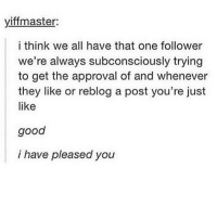 Memes, Accounting, and Approved: yiffmaster:  i think we all have that one follower  we're always subconsciously trying  to get the approval of and whenever  they like or reblog a post you're just  like  good  i have pleased you probably @aynalswag for me because he's the first textpost account admin that I ever talked to and when I first talked to him I think I had maybe 5k followers?
