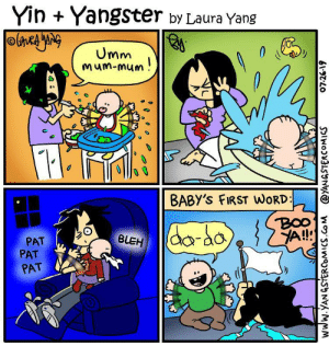 Baby's First Word: YinYangster by Laura Yang  Umm  Mum-mum!  BABY'S FIRST WORD  BOO  A!!  da-do  BLEH  PAT  PAT  PAT  www.YANGSTERCOMICS.Co M  @YANGSTERCOMICS  07.26-19 Baby's First Word
