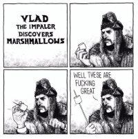 <p>Vlad the Marshmallover</p>: YLAD  THE IMPALER  DISCOYERS  MARSHMALLOWS  WELL THESE ARE  FUCKING  GREAT <p>Vlad the Marshmallover</p>