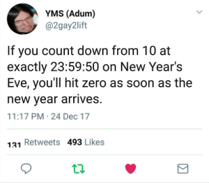 meirl by bjkman FOLLOW 4 MORE MEMES.: YMS (Adum)  @2gay2lift  If you count down from 10 at  exactly 23:59:50 on New Year's  Eve, you'll hit zero as soon as the  new year arrives.  11:17 PM 24 Dec 17  Retweets 493 Likes  131 meirl by bjkman FOLLOW 4 MORE MEMES.