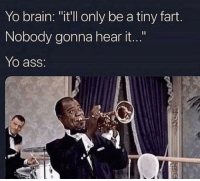 """Ass, Club, and Tumblr: Yo brain: """"it'll only be a tiny fart.  Nobody gonna hear it...""""  Yo ass: laughoutloud-club:  Dang people in band class must be farting all the time…"""