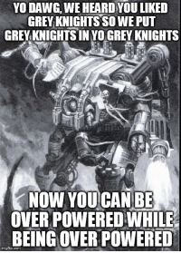 grey knights: YO DAWG, WE HEARD YOU LIKED  GREY KNIGHTS SOWEPUT  GREYKNICHTSINYO CREYKNIGHTS  NOW YOU CAN BE  OVERPOWERED WHILE  BEINGOVERPOWERED  gfip.com