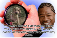 yo dawg: YO DAWGHERDYO AND YO DAWG LIKE YO  SO WE PUT YO DAWG IN A YO YO SO  CAN YO YO YO DAWG WHILE MO DAWG YO YOs.  YOS  YO