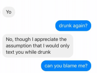 Well, no, I guess not: Yo  drunk again?  No, though I appreciate the  assumption that I would only  text you while drunk  can you blame me? Well, no, I guess not