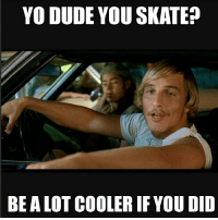 Skate, Yo Dude, and Cooler: YO DUDE YOU SKATE?  BE ALOT COOLER IF YOU DID Facts 😂💯 skatermemes