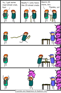 "Yo, Cyanide and Happiness, and Http: Yo, I got some  mad street cred,  fool  Really? I only haveHere's 25  like 25 street creds. more, bro  Thanks, yo!  T II  Cyanide and Happiness © Explosm.net <p>Street Cred via /r/wholesomememes <a href=""http://ift.tt/2iqMKEp"">http://ift.tt/2iqMKEp</a></p>"