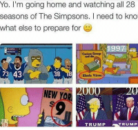 Memes, Ebola, and 🤖: Yo. I'm going home and watching all 28  seasons of The Simpsons. I need to kno  what else to prepare for  1997  ATLANTA 22  PATRIOTS  Curious George  FINAL  73 43  38  Ebola Virus  000  NEW  YOR  TRUMP  TRUMP