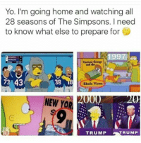 Memes, Ebola, and 🤖: Yo. I'm going home and watching all  28 seasons of The Simpsons. I need  to know what else to prepare for  73 43  38  Ebola virus  000  NEW YOR  TRUMP  TRUMP Lol memesfordays thiscantbelife lmao