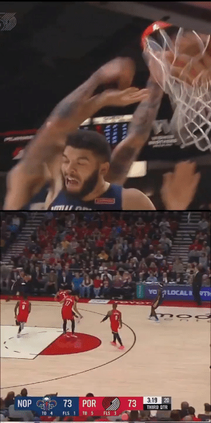 Dunk of the Night: Lonzo Ball with the putback poster on his own teammate!! https://t.co/SbmfmcmdGd: YO LOCAL R TH  17  3:19 20  73  73 POR  NOP  THIRD QTR  TO 5  FLS 3  FLS 1  TO 4 Dunk of the Night: Lonzo Ball with the putback poster on his own teammate!! https://t.co/SbmfmcmdGd
