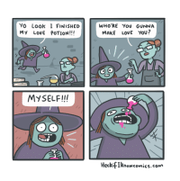 "Halloween, Love, and Yo: Yo Look I FINISHED  My LovE POTION!!!  WHO'RE You GUNNA  MAKE LOVE YOU?  MYSELF!!  HeckifIknowcomics.coM <p>right in time for halloween via /r/wholesomememes <a href=""http://ift.tt/2z169TM"">http://ift.tt/2z169TM</a></p>"