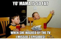 Yo Mama Meme: YO' MAMA IS SO FAT  WHEN SHE WALKED BY THE TV  I MISSED 3 EPISODES!  3