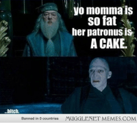 """<p>Cake cake cake cake  <a href=""""http://ift.tt/1qAZRAR"""">http://ift.tt/1qAZRAR</a></p>: yo momma is  so fat  her patronus is  A CAKE  .bitch.  Banned in 0 countries  MUGGLENET MEMES.COM <p>Cake cake cake cake  <a href=""""http://ift.tt/1qAZRAR"""">http://ift.tt/1qAZRAR</a></p>"""
