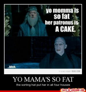 Yo Mama's So Fathttp://omg-humor.tumblr.com: yo momma is  so fat  her patronus is  A CAKE.  bitch.  YU NO VISIT 9GAG.COM  YO MAMA'S SO FAT  the sorting hat put her in all four houses  TASTE OF AWESOME.COM Yo Mama's So Fathttp://omg-humor.tumblr.com