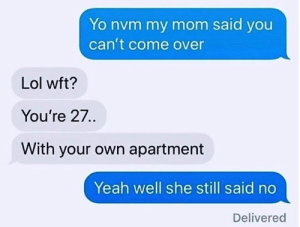 Come Over, Dank, and Lol: Yo nvm my mom said you  can't come over  Lol wft?  You're 27..  With your own apartment  Yeah well she still said no  Delivered When you really don't want someone to come over.