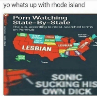 Most Searched: yo whats up with rhode island  Porn Watching  State-By-State  The U.S. according to most-searched terms  on Pornhub  LESBIAN  LESBIAN  SONIC  SUCKING HIS  OWN DICK