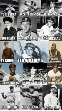 In honor of Memorial Day, a salute to some MLB Legends who served in the US Armed Forces!: YOGI BERRA JACKIE ROBINSON  JOE DIMAGGIO  BoB FELLER WARRENSPAHNTSTANMUSIAL  CHRISTY  TY COBB TED WILLIAMS  MATHEWSON  ANI  ERNIE BANKS  HANK GREENBERGE WILLIE MAYS  @MLBMEME  GEORGE SISLER TRIS SPEAKER EDDIECOLLINS In honor of Memorial Day, a salute to some MLB Legends who served in the US Armed Forces!